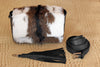 BROWN WHITE COWHIDE Bags,Princess Kate Fur Bag w/ Leather Tassel.