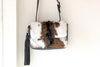 BROWN WHITE COWHIDE FUR Bags, w/ Leather Tassel.