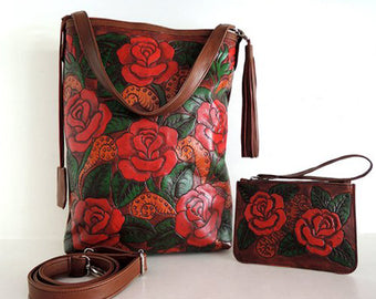HAND TOOLED LEATHER Bags in Red Roses. Dorothy Bag