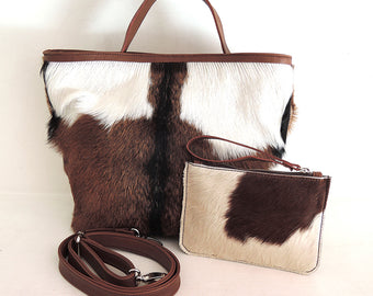 Patty Bag Brown White Goat Hide