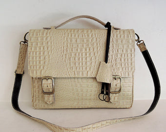 Cream Emboss Leather Satchel Bag