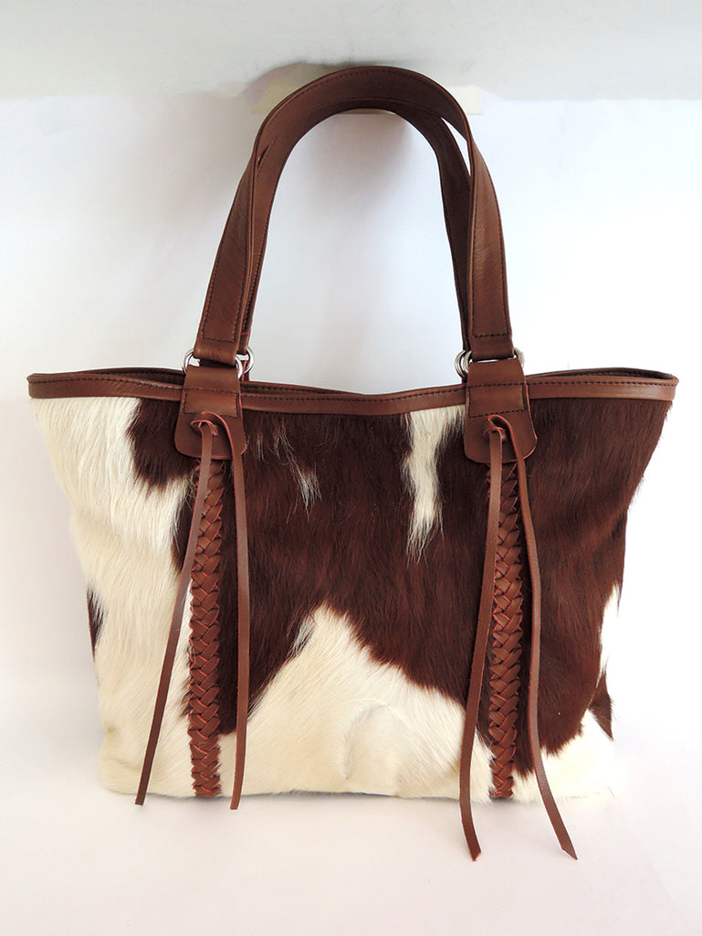 Steven Bag Cow Hide Hair Leather in Brown White