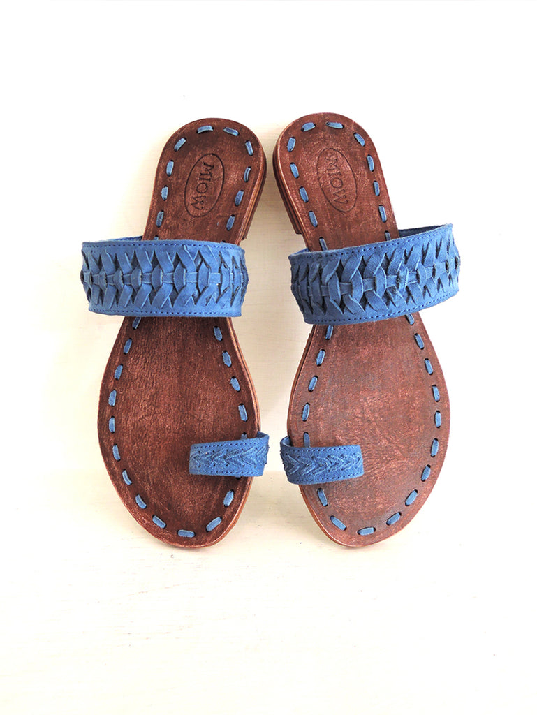 Blue Suede Flats Sandals. Kelly Sandals