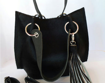 Black Leather Bag for women in Cowhide hair. Claire Bag