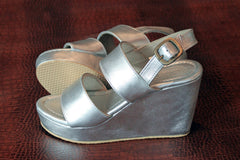 SILVER LEATHER PLATFORM Shoes Women. Kelly Shoes