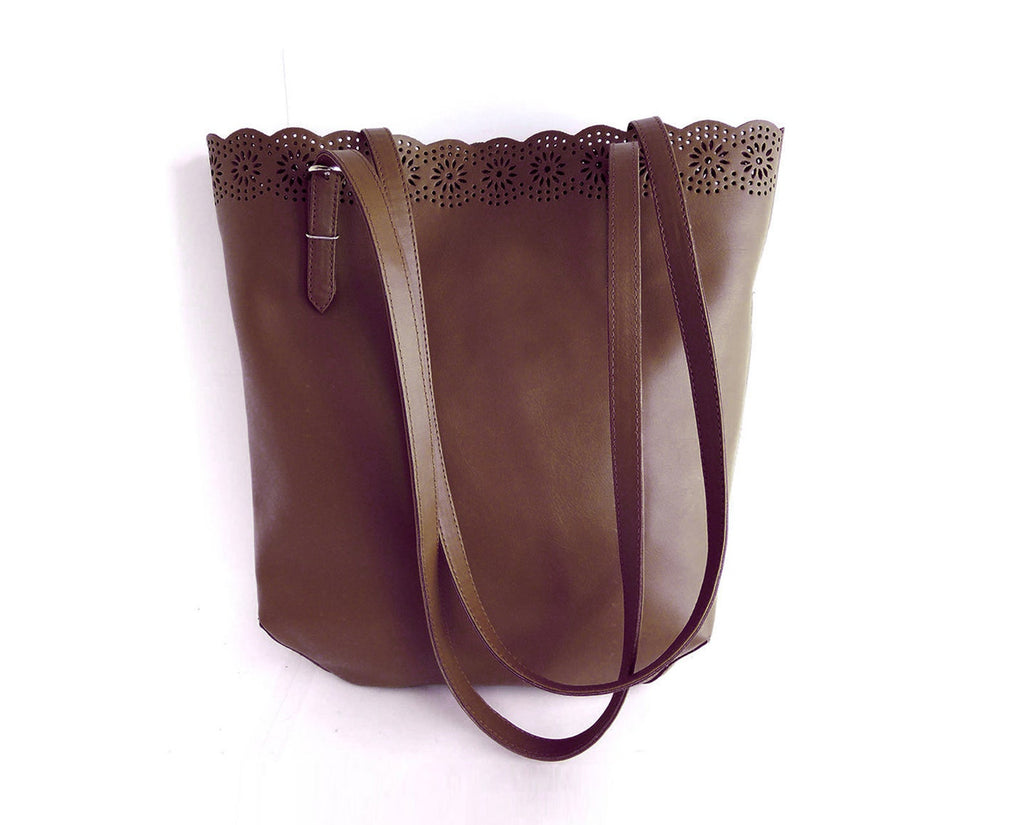 WOMENS LEATHER Tote Bag Brown. Handtooled Leather Purse w/ Sheridan Floral Scallops. Sumi Bag