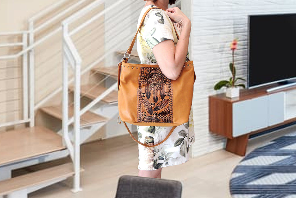 HAND TOOLED VINTAGE Tan Leather Bag For Women in Tooled Tribal Feathers