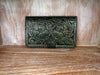 Leather Handtooled Wallet in Green Roses. Antique Wallet. Mother's Day Gift