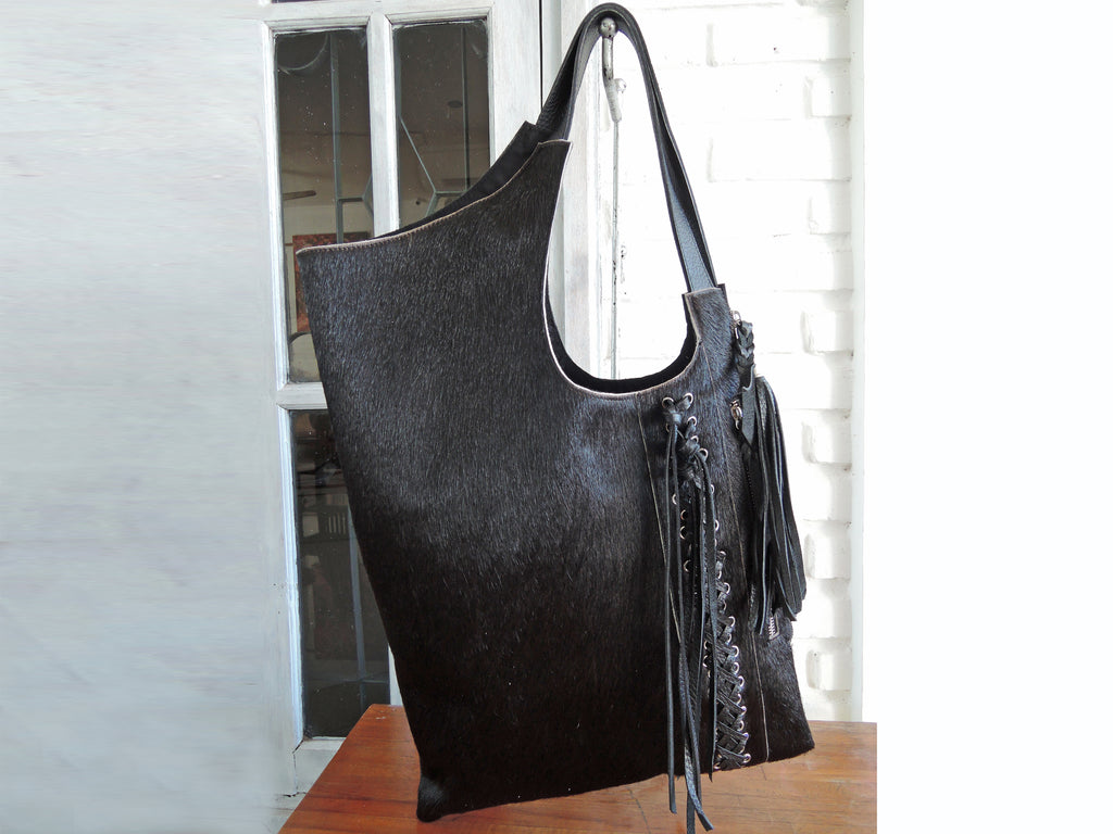 BLACK COWHIDE TOTE W/ Woven Leather Tassels. Calf Hair Bag w/ Hand Leather Cross Weave. Country South Western Cowgirl Fur Bag, Shoulder bag.