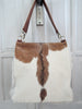 BROWN WHITE COWHIDE Tote Bag in Gorgeous Calf Hair, Cowhide Hair Shoulder Bag, Brown Weekend Tote, Brown Cowhide Bag, Pony Hair Bag, Texas