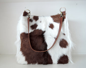 LARGE TOTE PURSE In Brown White Hide Hair. Selena Bag