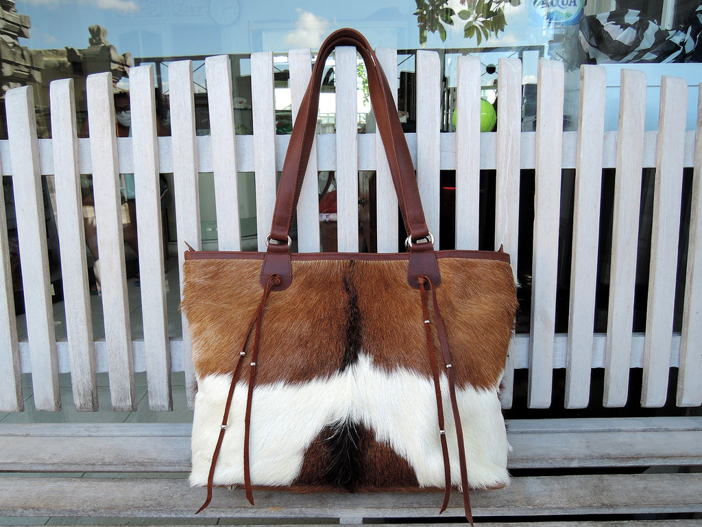 DOCUMENT BAG WOMENS In Brown White, Tote Bag Gift for Her