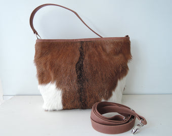 COWHIDE PURSE COWHIDE Handbag Leather Sling Bag. Patty Bag