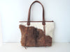 Cowhide Daily Bag, One of Kind, Shoulder Bag in Brown White