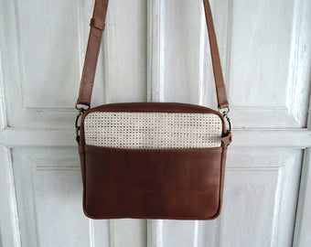 LEATHER CANVAS CLUTCH Purse in Brown Crossbody Bag with Zipper On Top Small Tote Bag For Women
