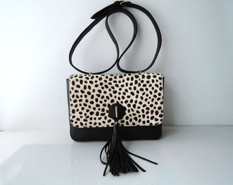 LEATHER CLUTCH PURSE In Leopard Cowhide Clutch Bag animal Print