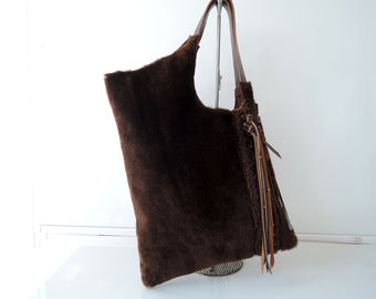 Hair On Hide Bag And Purses in Brown Fur.