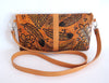 HAND TOOLED LEATHER Bag in Vintage Camel. SK Clutch