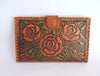 Leather Handtooled Wallet in Green Roses. Antique Wallet.