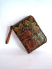 HANDTOOLED WESTERN WALLET for Women. Wallet Zipper.
