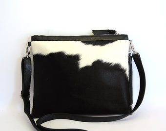 Black White Cowhide bag. Grace Bag