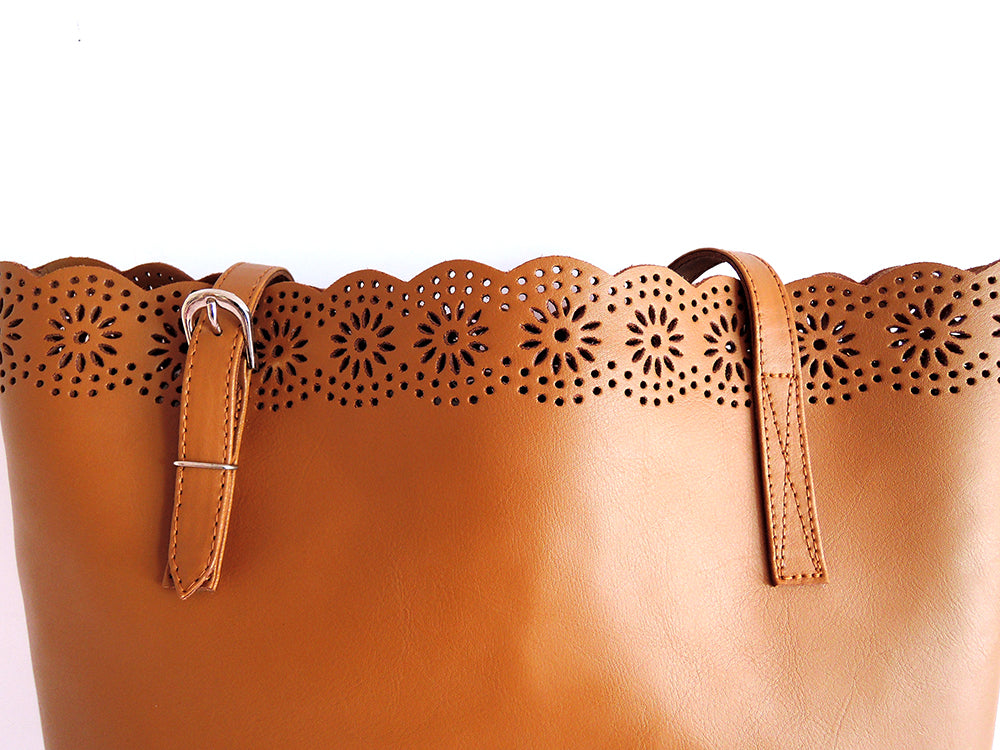 ac360b24bb Tan Leather Tote Bag. Market Bag. Sasha Handtooled Bag