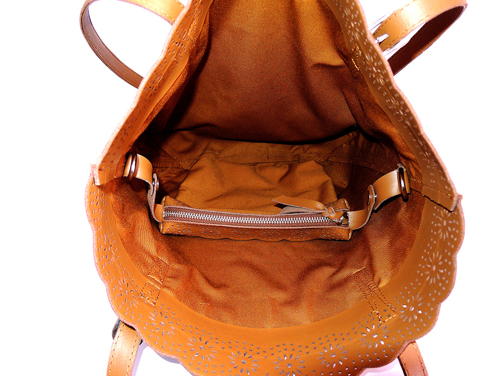 WOMENS LEATHER Tote Bag Vintage Tan Handtooled Leather Purse w Sheridan Floral Scallops Handmade Everyday Market Bag.