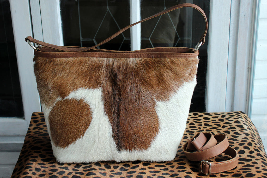 WOMEN TOTE BAG, Handbag in brown white cowhide hair,  Cross body bag with Zipper, Leather purse for Women,  Hobo Bag,  Everyday work bag