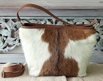 COWHIDE LEATHER PURSE With Zipper On Top, Tote Bag In Brown White Hide Hair, Leather Crossbody Bag Women, Boho Shoulder Bag, Valentine Gift