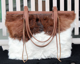 COWHIDE LEATHER BAG In Brown White Hide Hair, Large Leather Tote, Designer Handbags, Leather Shopper, Document Leather Bag, Gift For Her.