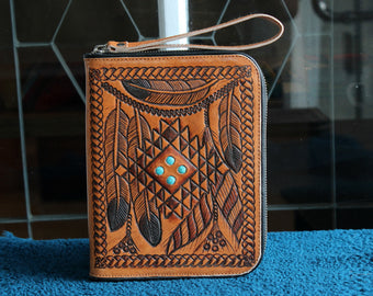 HANDCRAFTED PASSPORT HOLDER Tribal Feathers / Tooled Leather Organiser Wallet / Vintage Tan Leather Travel Wallet w Turquoise Stones