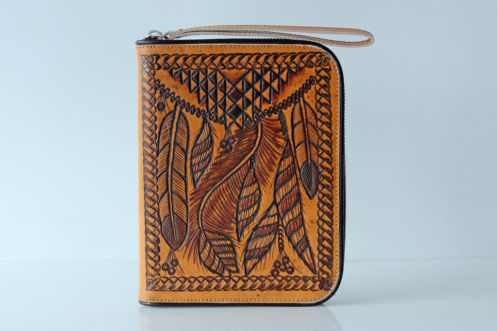 PERSONALISED TRAVEL WALLET / Tribal Feathers Leather Clutch / Tooled Zipper Wallet Billfold / Southwestern Art Purse / Cowgirl Wallet Case