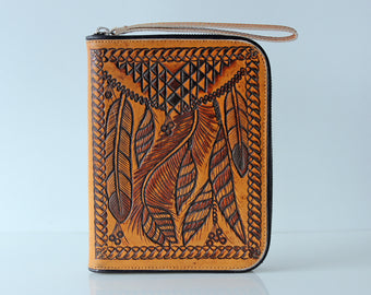 PERSONALISED TRAVEL WALLET, Tribal Leather Clutch, Tooled Zipper Billfold