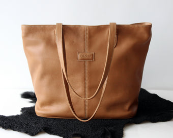 TAN LEATHER TOTE Bag w/ 2 Zipper Top, Tan Overnight Weekender Leather Bag