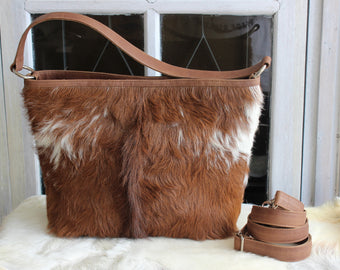 HANDBAGS AND PURSES In Brown White Cowhide, Women's Leather Crossbody Bag, Travel Bag, Tote Bags For Work, Cow Fur Purse, Gift For Mom.