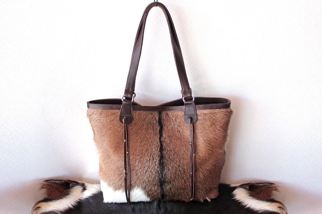 BROWN WHITE HAIR ON Hide Bag Leather Tote Cowhide Bag, Cowhide Purse