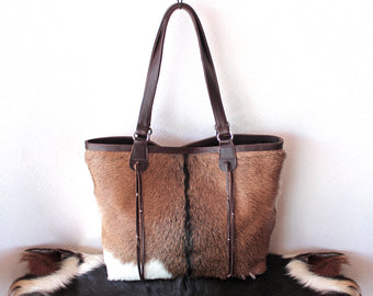 BROWN COW FUR TOTE BAG