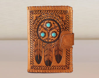 PERSONALIZED LEATHER WALLET Bifold in Hand Crafted Tribal Turqouise Stone.