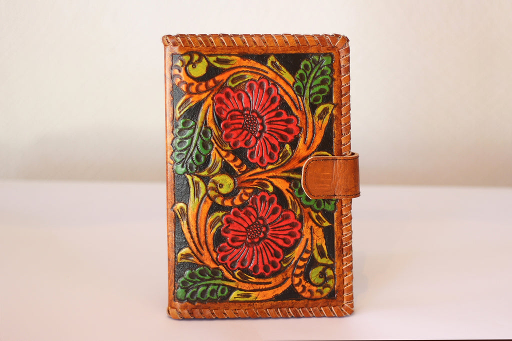 HANDTOOLED ROSES LEATHER WALLET