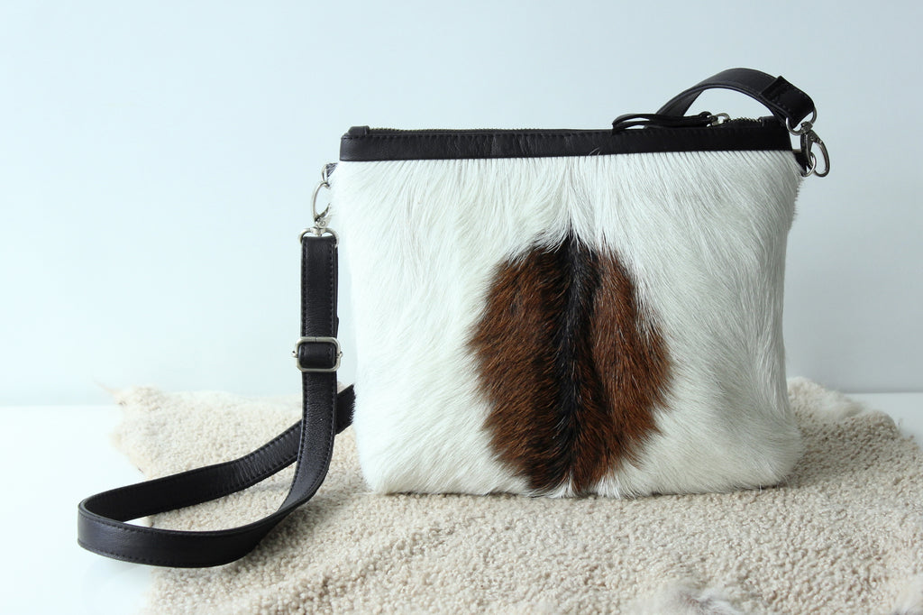 BROWN WHITE Cowhide Purse, Small Cowhide Clutch, Hair on Hide Purse, Fur Purse, Country Western, Texas Style, Sling Bag, Pony Hair Bag.