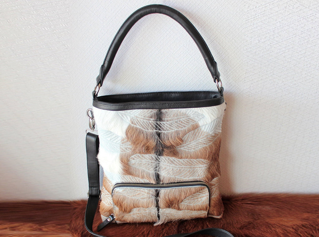 COWHIDE FEATHER BAG, Hand Carved Leather Bag, Tribal Feathers, Country Designer Bag