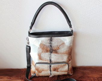 COWHIDE FEATHER BAG  Hand Carved Leather Bag  Tribal Feathers  Country Designer Bag