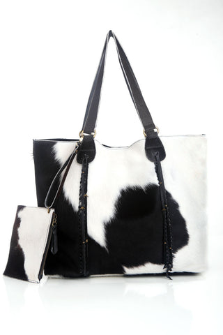 Black White Cowhide Tote Bag. Genuine Leather Tote. Steven Bag