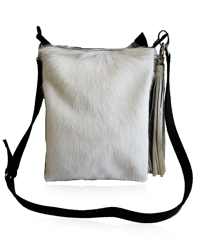 Crossbody Bag in White Hide Hair Messenger Bag With Adjustable Strap Amanda Bag