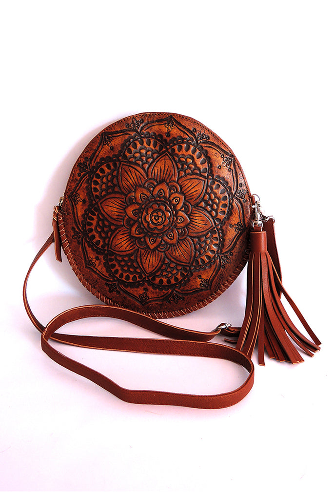 ROUND LEATHER BAG in Hand Tooled Vintage Brown