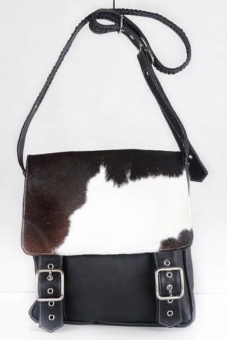 BLACK WHITE COWHIDE BAG Leather. Margaret Satchel