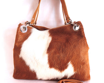 Elisa Bag in Brown White Cowhide Hair. Gift for Mom