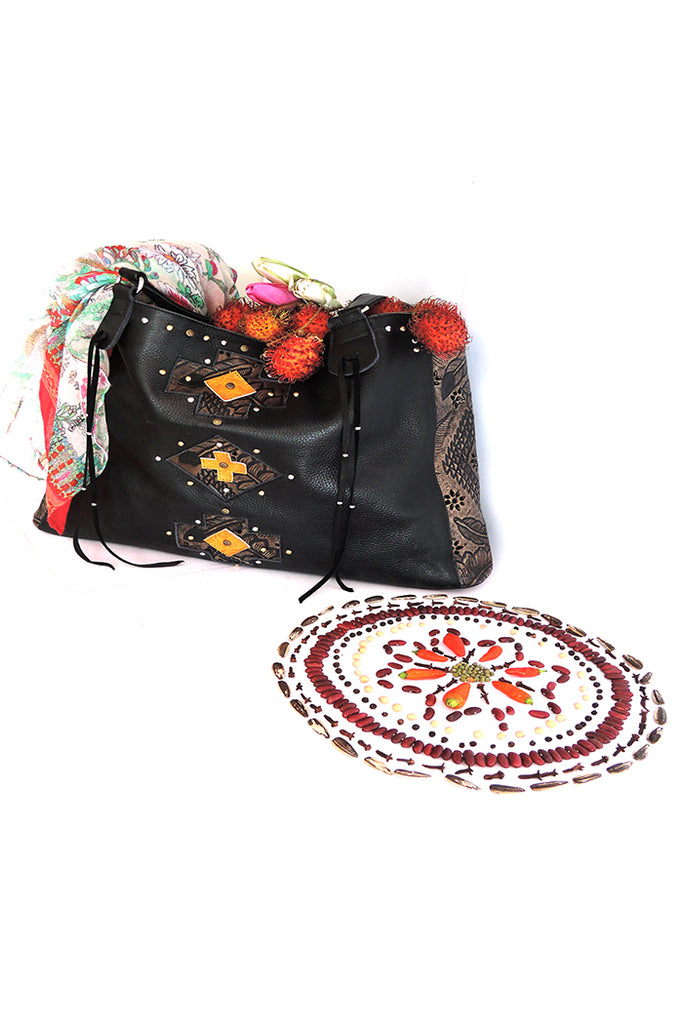 BLACK LEATHER BAG For Women with Handtooled. Steven Bag Carved.