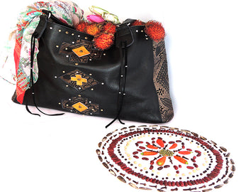 BLACK LEATHER BAG For Women Carved/Handtooled.
