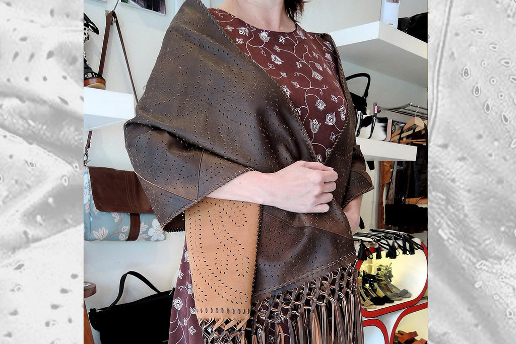 Brown Leather Winter Scarf Fringe